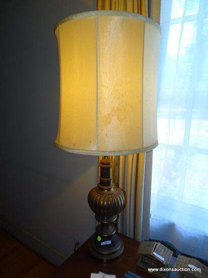 (LR) BRONZE TABLE LAMP; BRONZE OIL LAMP CONVERTED TO ELECTRIC WITH A REEDED DRUM AND TURNED BASE.