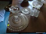 (DR) GLASS LOT; LOT OF MISCELL. GLASS TO INCLUDE- CAKE PLATE, PR OF SHAKERS, CRYSTAL PRESSED CUT