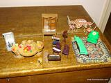 (HALL) SHELF LOT OF ASSORTED DOLL HOUSE FURNITURE; LOT TO INCLUDE A MATCHING SOFA AND CHAIR, A PAIR