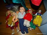 (DOLLRM) DOLL LOT; VINTAGE VINYL AND COMPOSITION DOLL LOT- TOTAL 10 AND INCLUDES DOLL STANDS