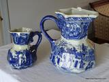 (LR) PAIR OF VINTAGE VICTORIA WARE IRONSTONE PITCHERS; 2 PIECE LOT OF VICTORIA WARE FLOW BLUE