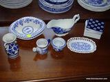 (LR) LOT OF ASSORTED BLUE AND WHITE CHINA; 16 PIECE LOT TO INCLUDE 2 JACKSON VITRIFIED CHINA OBLONG