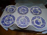 (LR) LOT OF SPODE BLUE ROOM COLLECTION DINNER PLATES; 6 PIECE LOT OF SPODE BLUE ROOM, SCALLOPED RIM,