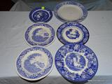 (LR) LOT OF ASSORTED BLUE AND WHITE CHINA PLATES; 6 PIECE LOT OF BLUE AND WHITE PORCELAIN PLATES TO