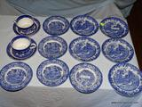 (LR) LOT OF BLUE AND WHITE CHINA; 14 PIECE LOT TO INCLUDE A SET OF 5 LIBERTY BLUE