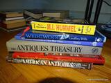 (FMR) BOOK LOT; LOT OF BOOKS TO INCLUDE- AMERCIAN ANTIQUES, ANTIQUES TREASURY FLOW BLUE, WEDGEWOOD,