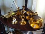 (FMR) BRASS LOT; LOT OF BRASS INCLUDES- 3 PR. OF CANDLEHOLDERS ( 2- 3IN H AND 1- 2 IN H) PORRIGER,