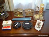 (LR) LOT OF MUSIC BOXES AND HUMMEL COLLECTOR'S ITEMS; 7 PIECE LOT TO INCLUDE A VINTAGE HUMMEL CLOCK,