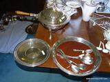 (DR) SILVERPLATE LOT; LOT INCLUDES CHAFFING DISH ON STAND AND A REED AND BARTON TRAY