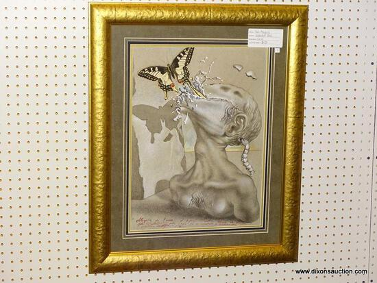 """SOUL ALLEGORY"" FRAMED GICLEE BY SALVADOR DALI; DEPICTS AN ABSTRACT SCENE OF A BUTTERFLY ESCAPING"