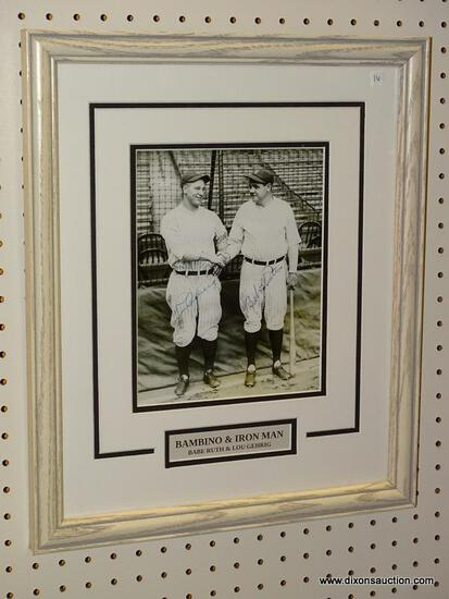BAMBINO & IRON MAN FRAMED YANKEES PRINT; SIGNED PRINT OF BABE RUTH AND LOU GEHRIG SHAKING HANDS