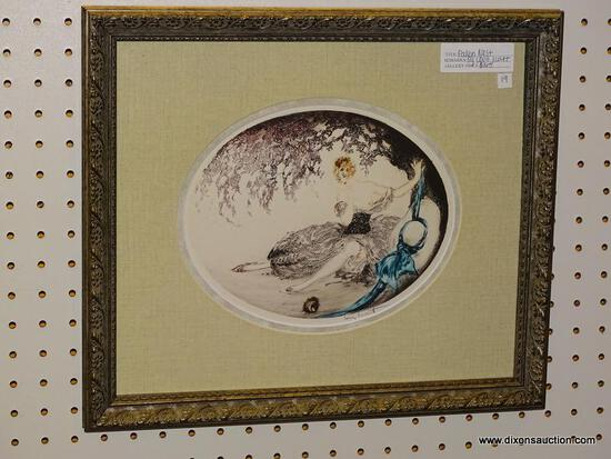 """FALLEN NEST"" BY LOUIS ICART; OVAL PRINT DEPICTS A SCENE OF AN EMBARRASSED, TOPLESS WOMAN SITTING"