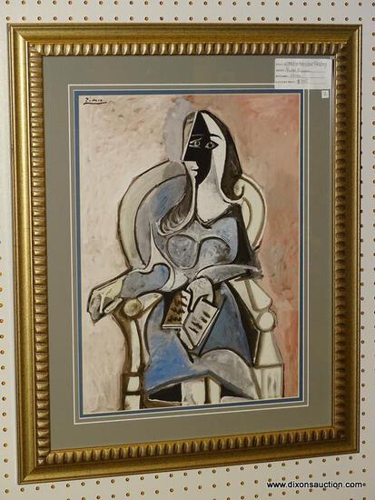 """WOMAN IN CHAIR READING"" FRAMED GICLEE BY PABLO PICASSO; DEPICTS AN ABSTRACT WOMAN SITTING AND"