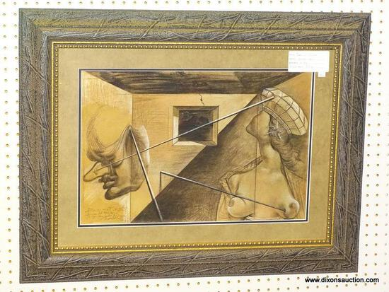 """QUEEN OF SALOME"" FRAMED GICLEE BY SALVADOR DALI; DEPICTS AN ABSTRACT SCENE OF A NUDE WOMAN AND MANS"