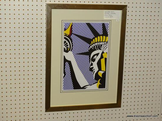 """I LOVE LIBERTY"" BY ROY LICHTENSTEIN; FRAMED GICLEE PRINT DEPICTS A POP ART STATUE OF LIBERTY WITH A"