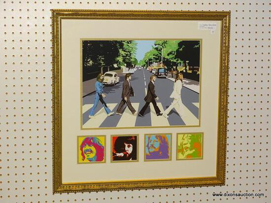 """BEATLES ABBEY ROAD"" FRAMED PRINT; DEPICTS A PAINTED IMAGE OF THE ICONIC BEATLES ABBEY ROAD ALBUM"