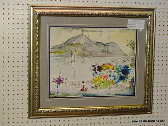 """LARGO DE GORDA"" FRAMED GICLEE BY SALVADOR DALI; ABSTRACT WATERCOLOR GICLEE PRINT DEPICTS AN"