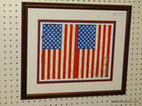 JOHN JASPERS DOUBLE FLAG FRAMED PRINT. TRIPLE MATTED IN BLUE, RED AND WHITE AND SITS IN A BURGUNDY