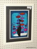 MID CENTURY MODERN CAT PRINT; ABSTRACT CAT PRINT WITH A BLUE GEOMETRIC BACKGROUND. MATTED IN BLACK