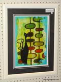 MID CENTURY MODERN CAT PRINT; ABSTRACT CAT PRINT WITH A GREEN GEOMETRIC BACKGROUND. MATTED IN BLACK