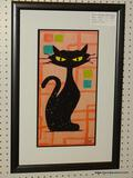 MID CENTURY MODERN ABSTRACT CAT FRAMED GICLEE PRINT BY AMOS; DEPICTS A SITTING BLACK CAT WITH A