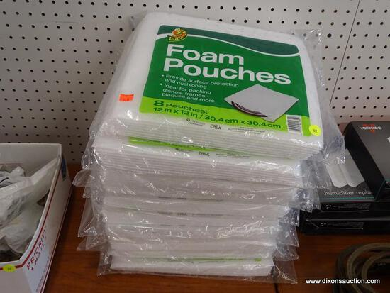 "(RWALL) LOT OF DUCK FOAM POUCH PACKS; 10 PIECE LOT OF 12"" X 12"" FOAM POUCH PACKS WITH 8 POUCHES IN"