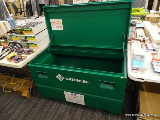 "(R2) GREENLEE STEEL, WORKSITE CHEST - GREEN. MEASURES 48"" X 24"" X 25""."