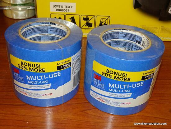 """(RWALL) LOT OF 3M 1.41"""" MULTI-USE PAINTERS TAPE ROLLS; INCLUDES 2 PACKS WITH [3] 72 YARD ROLLS IN"""