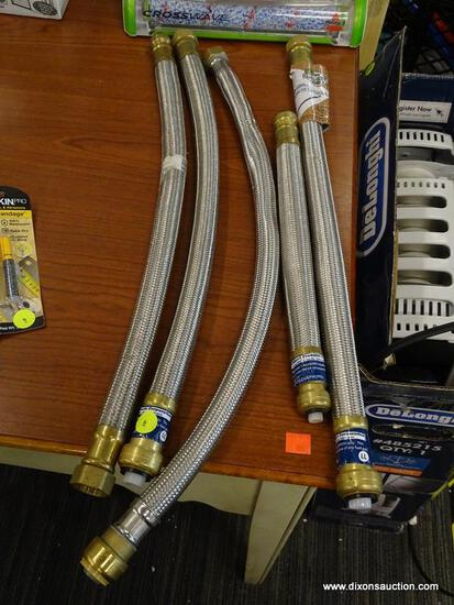 "(RWALL) LOT OF BRAIDED METAL HOSES; 5 PIECE LOT TO INCLUDE [2] 3/4"" X 3/4"" X 20"" WATER HEATER HOSE,"