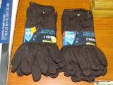 (RWALL) 4 PAIRS OF WESTCHESTER LARGE JERSEY GLOVES WITH WARM FLEECE LINED INTERIOR.