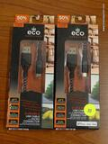 (RWALL) ECO SURVIVOR 4' PHONE CHARGERS; 2 PIECE LOT INCLUDES AN IPHONE CHARGER AND AN ANDRIOD