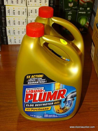 (R1) PAIR OF PRO-STRENGTH LIQUID-PLUMR, CLOG DESTROYER GEL, DRAIN CLEANING 2.5 QT POURING BOTTLES.