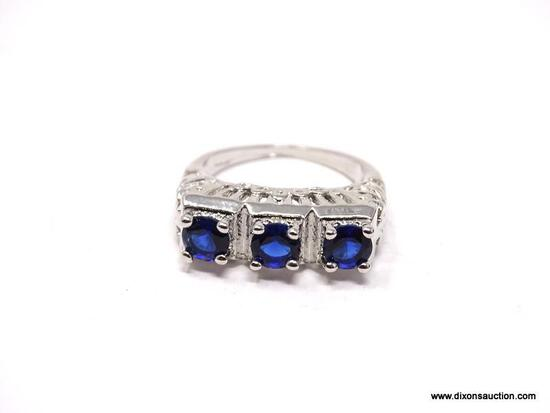 .925 STERLING SILVER LADIES 1 CT SAPPHIRE FILIGREE RING. SIZE 7 1/2