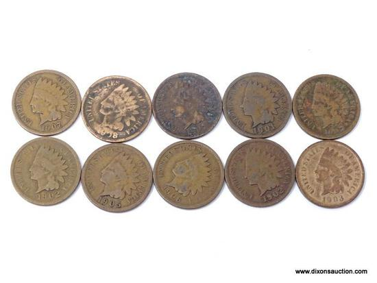 10 ASSORTED INDIAN CENTS
