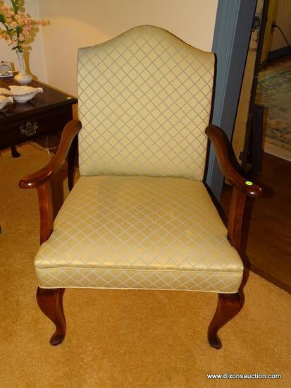 (LR) ARM CHAIR; CHERRY QUEEN ANNE ARM CHAIR WITH BEIGE AND BLUE UPHOLSTERY- VERY CLEAN- 27 IN X 23