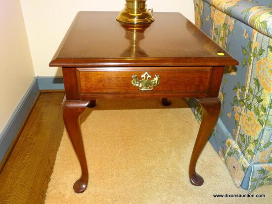 (LR) END TABLE; ONE OF A PAIR OF PENNSYLVANIA HOUSE CHERRY QUEEN END TABLES- VERY GOOD CONDITION- 21