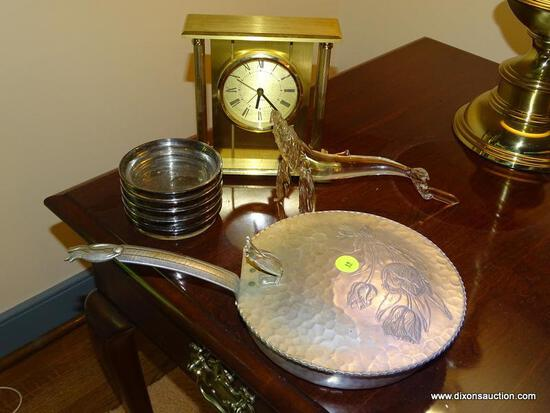 (LR) MISC.. LOT; LOT INCLUDES- GLASS WHALE FIGURE, BRASS QUARTZ CLOCK- 7 IN H, MONOGRAMED COASTERS,