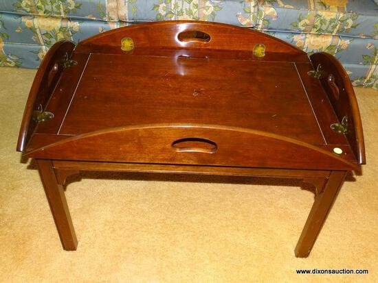 (LR) COFFEE TABLE; CHERRY PENNSYLVANIA HOUSE CHIPPENDALE BUTLER'S TRAY TOP COFFEE TABLE- ONE PIECE-