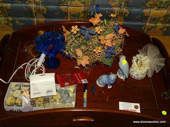 (LR) MISC.. LOT; LOT INCLUDES- RUFFLED EDGE BLUE COMPOTE, PARROT AND CAT FIGURINE, TEA CANDLES,