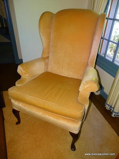 (LR) WING CHAIR; LAINE OF HICKORY MAHOGANY QUEEN ANN WING CHAIR IN IVORY VELVET UPHOLSTERY- VERY