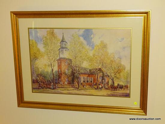 (LR) FRAMED PRINT; FRAMED AND MATTED PRINT OF BRUTON PARISH CHURCH I GOLD FRAME- 39 IN X 30 IN