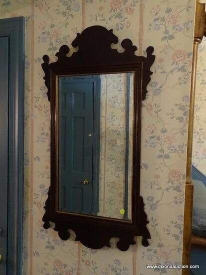 (HALL) MIRROR; MAHOGANY CHIPPENDALE STYLE BEVELED GLASS MIRROR- 20 IN X 38.5 IN