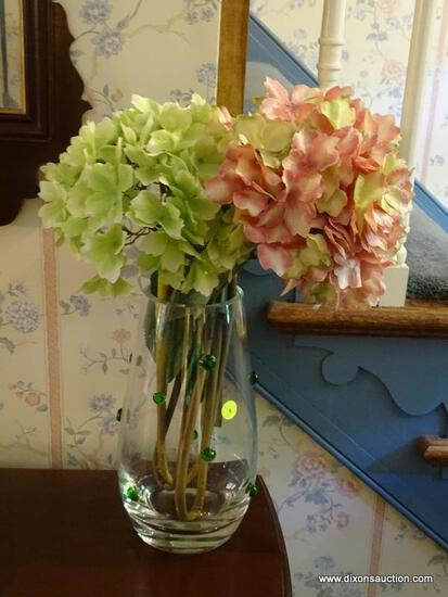 (HALL) VASE WITH FLOWERS; GLASS AND BEADED VASE WITH SILK FLOWERS- 28 IN H