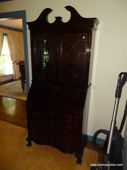 (LR) SECRETARY; MAHOGANY GOVERNOR WINTHROP STYLE SERPENTINE FRONT, BALL AND CLAW FOOT SECRETARY WITH