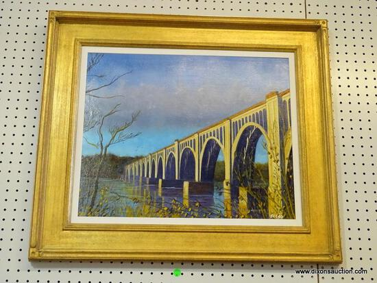 """BRIDGE WITH RAIN CLOUD"" FRAMED OIL PAINTING BY ROBERT SESCO; THE CSX A-LINE RAILWAY BRIDGE,"