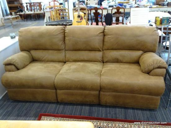 RECLINING SOFA; 3-CUSHION SOFA WITH BROWN UPHOLSETERY AND SUPER COMFY OVERSIZED CUSHIONS. MEASURES