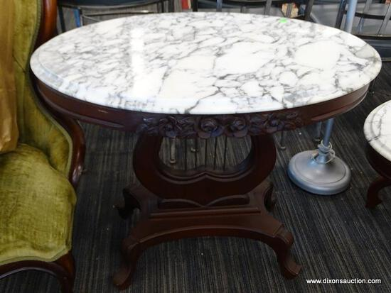 VICTORIAN MARBLE TOP COFFEE TABLE; DARK CHERRY, OVAL COFFEE TABLE WITH A WHITE CARRARA MARBLE TOP,