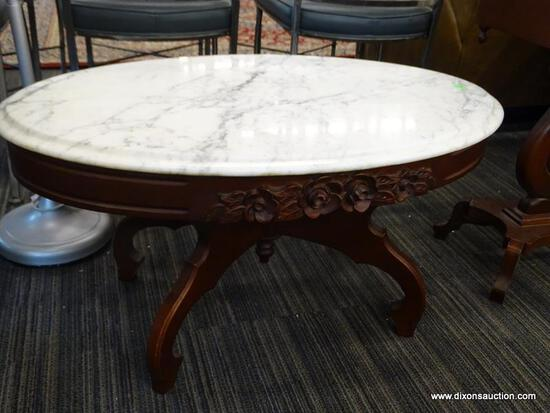 VICTORIAN MARBLE TOP CONSOLE TABLE; DARK CHERRY, OVAL CONSOLE TABLE WITH A WHITE CARRARA MARBLE TOP,
