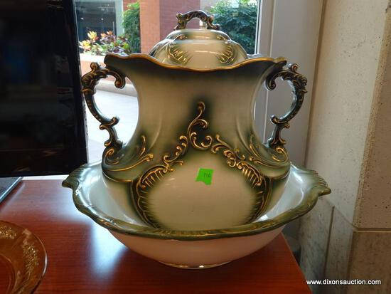 (R1) ANTIQUE HAYNES BALT LIDDED CHAMBER POT WITH BASIN - GREEN WITH GOLD TONE ACCENTS. CHIPPED ON