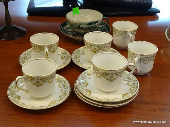 (R1) TEA CUPS AND SAUCERS; 14 PIECE LOT TO INCLUDE A SET OF 6 POPE-GOSSER CHINA TEA CUPS W/ SAUCERS